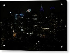 Philadelphia Night Lights Acrylic Print by Rona Black