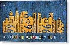 Philadelphia Pennsylvania Skyline License Plate Art Edition 2016 Acrylic Print by Design Turnpike