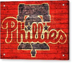 Philadelphia Phillies Barn Door Acrylic Print by Dan Sproul