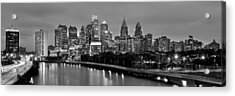 Acrylic Print featuring the photograph Philadelphia Philly Skyline At Dusk From Near South Bw Black And White Panorama by Jon Holiday