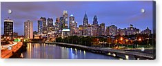 Philadelphia Philly Skyline At Dusk From Near South Color Panorama Acrylic Print