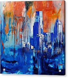 Philadelphia Skyline 227 1 Acrylic Print by Mawra Tahreem