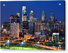 Philadelphia Skyline At Night Acrylic Print by Jon Holiday