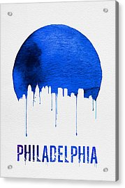 Philadelphia Skyline Blue Acrylic Print by Naxart Studio
