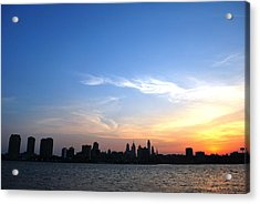 Philadelphia Skyline Low Horizon Sunset Acrylic Print