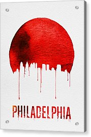 Philadelphia Skyline Redskyline Red Acrylic Print by Naxart Studio