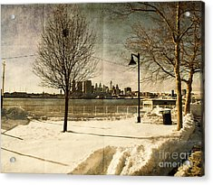 Philadelphia Snowscape Acrylic Print by Milton Brugada