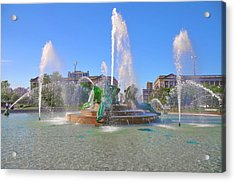 Acrylic Print featuring the photograph Philadelphia - Swann Fountain At Logan Square by Bill Cannon