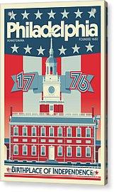 Philadelphia Poster - Independence Hall Acrylic Print