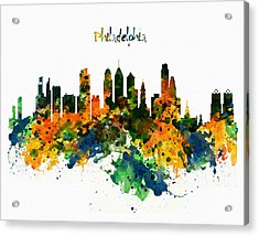 Philadelphia Watercolor Skyline Acrylic Print by Marian Voicu