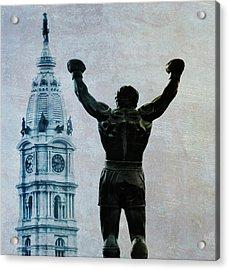 Philadelphias Champion - Rocky Balboa Acrylic Print by Bill Cannon
