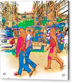 Philippine Girls Crossing Street Acrylic Print