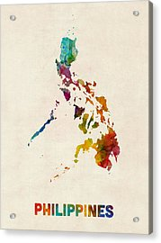 Philippines Watercolor Map Acrylic Print