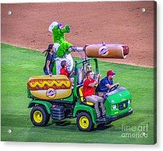 Phillie Phanatic Hot Dog Shooter Acrylic Print by Nick Zelinsky