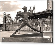 Phillies Hall Of Famer Steve Carlton In Sepia Acrylic Print by Bill Cannon