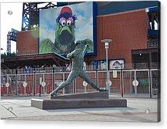 Phillies Steve Carlton Statue Acrylic Print by Bill Cannon