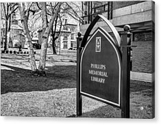 Phillips Memorial Library Providence College, Monochrome Acrylic Print
