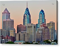 Philly At Sunset Acrylic Print by Frozen in Time Fine Art Photography