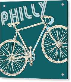 Philly Bicycle Map Acrylic Print by Brandi Fitzgerald