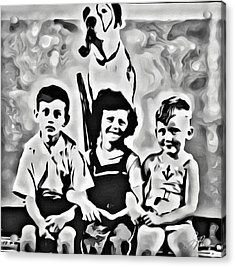 Acrylic Print featuring the digital art Philly Kids With Petey The Dog by Joan Reese