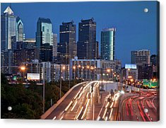 Acrylic Print featuring the photograph Philly Skyline With Highways by Matthew Bamberg