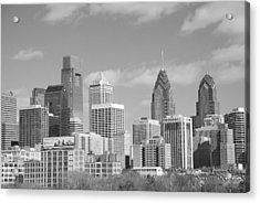 Philly Skyscrapers Black And White Acrylic Print by Jennifer Ancker