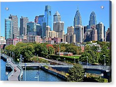 Acrylic Print featuring the photograph Philly With Walking Trail by Frozen in Time Fine Art Photography