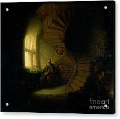 Philosopher In Meditation Acrylic Print by Rembrandt