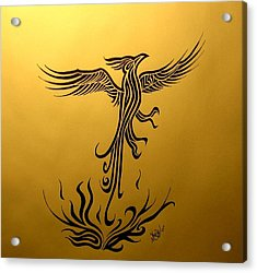 Acrylic Print featuring the drawing Phoenix by Michelle Dallocchio