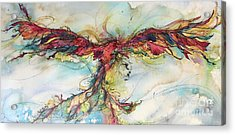 Acrylic Print featuring the painting Phoenix Rainbow by Christy Freeman