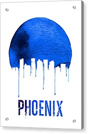 Phoenix Skyline Blue Acrylic Print by Naxart Studio