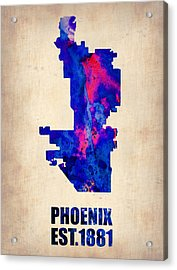 Phoenix Watercolor Map Acrylic Print by Naxart Studio