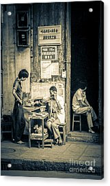 Acrylic Print featuring the photograph Phonecall On Chinese Street by Heiko Koehrer-Wagner