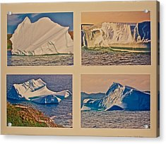 Photo Assemblage Of Icebergs In Saint Anthony Bay, Newfoundland Acrylic Print