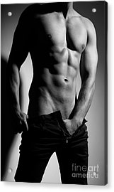 Photograph Of A Sexy Man In Black And White #9981g Acrylic Print