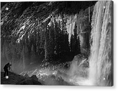 Photographer At Vernal Falls Acrylic Print by Ralph Vazquez