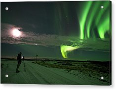 Acrylic Print featuring the photograph Photographer Under The Northern Light by Dubi Roman