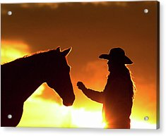 Cowgirl Sunset Sihouette Acrylic Print