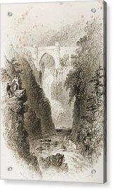 Phoul A Phuca Falls, Ireland.drawn By Acrylic Print by Vintage Design Pics