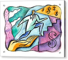 Acrylic Print featuring the painting Physician And Money by Leon Zernitsky