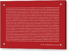 Pi To 2198 Decimal Places Acrylic Print by Michael Tompsett