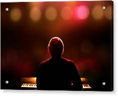 Pianist On Stage From Behind Acrylic Print by Johan Swanepoel