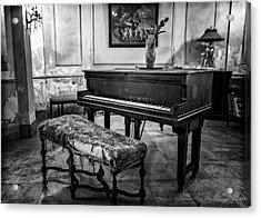 Acrylic Print featuring the photograph Piano At Josie's House Bw by Joan Carroll
