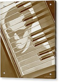 Piano Man In Sepia Acrylic Print by J L Meadows