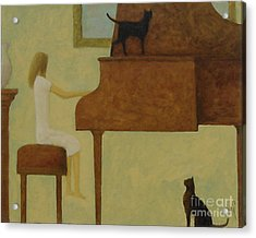 Piano Two Cats Acrylic Print by Glenn Quist