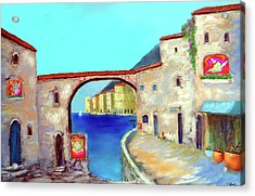 Piazza Del La Artista Acrylic Print by Larry Cirigliano