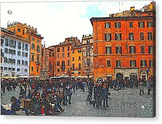 Piazza Della Rotunda In Rome 2 Acrylic Print by Jen White