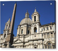 Piazza Navona. Navona Place. Church St. Angnese In Agona And Egyptian Obelisk. Rome Acrylic Print by Bernard Jaubert