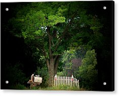 Picket Fence Mailbox Acrylic Print by Michael L Kimble
