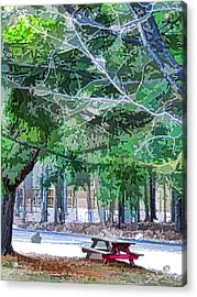 Picnic Area With Wooden Tables 2 Acrylic Print by Lanjee Chee